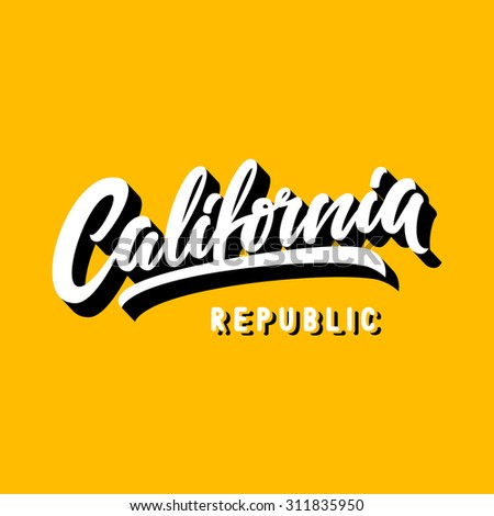 California Republic Brush Hand Lettering Script On Yellow Background - stock vector