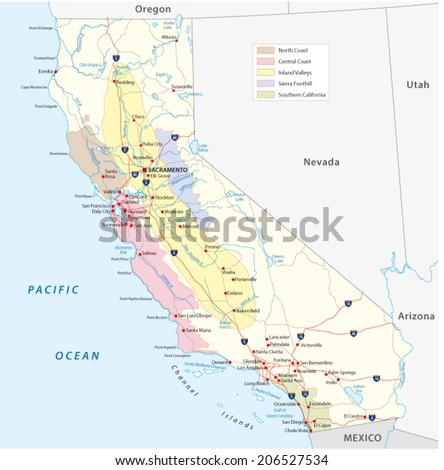 california's wine regions map - stock vector