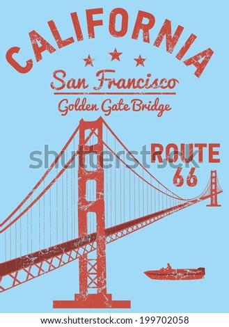 california san francisco golden gate bridge vector art - stock vector