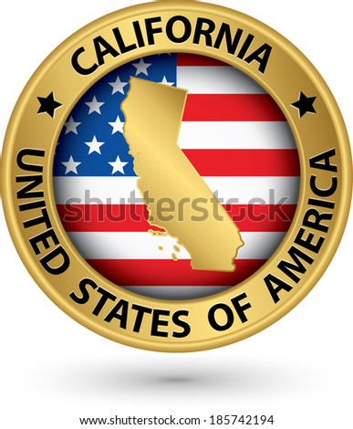 California state gold label with state map, vector illustration - stock vector