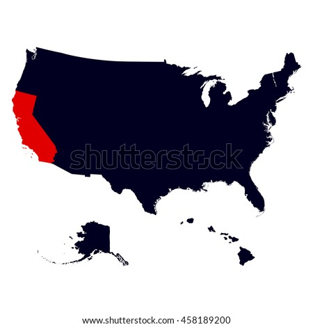 California State in the United States map - stock vector