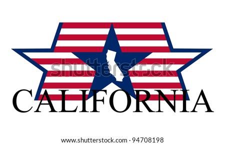 California state map, flag and name. - stock vector