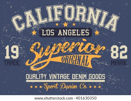 California superior quality sport vector print and varsity. For t-shirt or other uses in vector.T shirt graphic