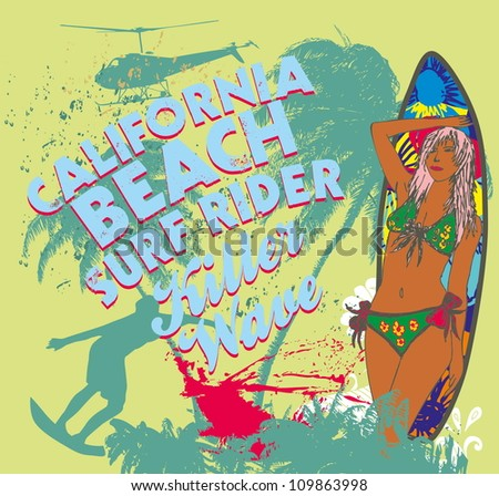 california surf beach - stock vector