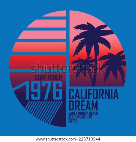 California surf illustration, vectors, t-shirt graphics - stock vector