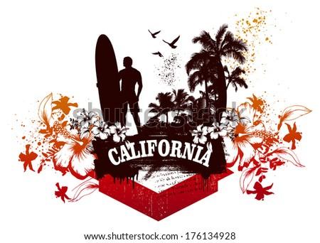 california surf scene - stock vector