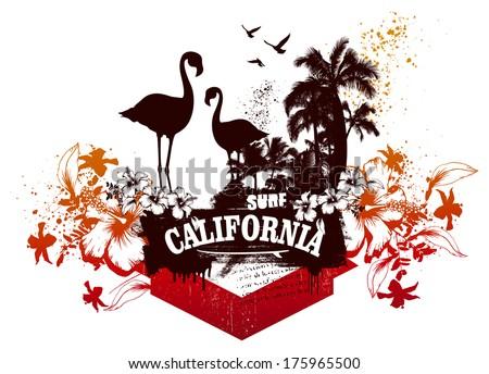 california surf scene with flamingos - stock vector