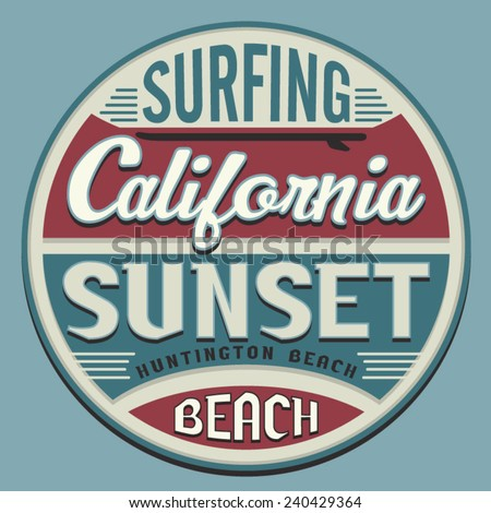 California surf sport typography, t-shirt graphics, vectors - stock vector