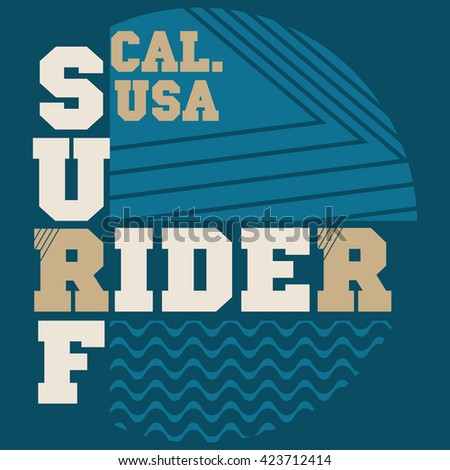California surf typography, t-shirt graphics, s