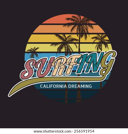 California surf typography, t-shirt graphics , vector format eps10 - stock vector