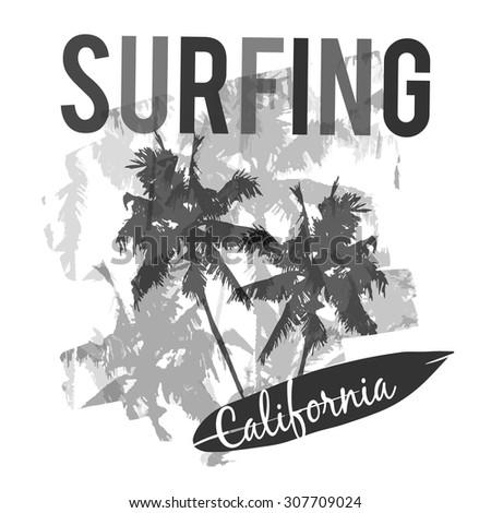 California surf typography, t-shirt graphics , vectors - stock vector