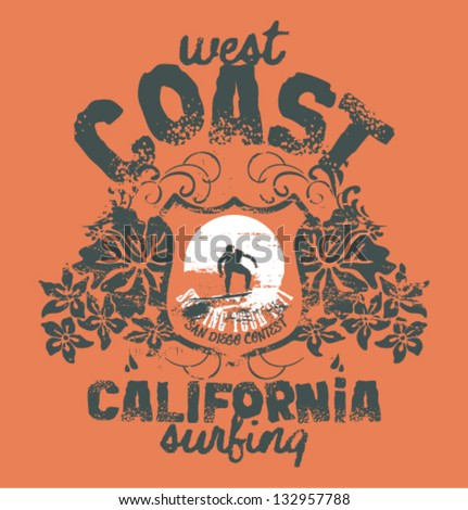 California surfing company- Vector artwork for t-shirt in custom colors - stock vector