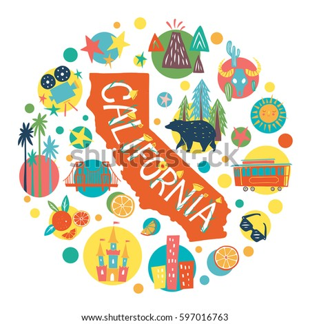 California Tourist Attractions Concept Hand Drawn Stock Vector