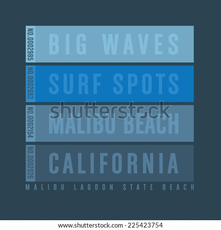 California typography, t-shirt graphics, vectors - stock vector