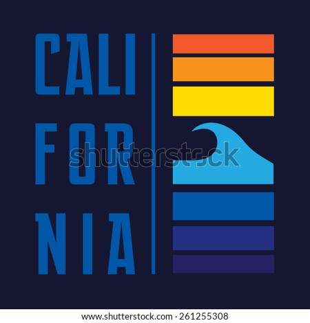 California typography, t-shirt graphics, vectors, surf  - stock vector