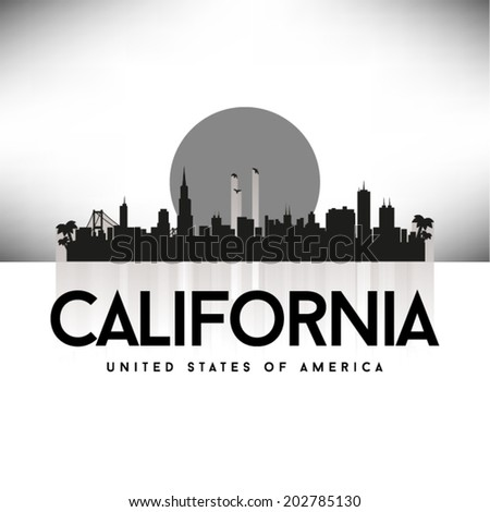 California United States of America skyline, vector illustration. - stock vector