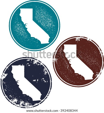 California USA State Stamps - stock vector