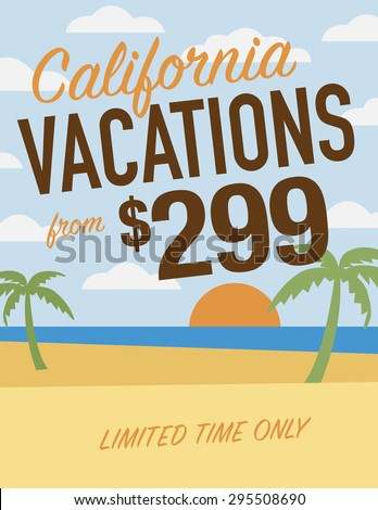 California vacation sale sign - from $299 limited time only - stock vector