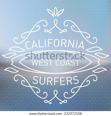 California west coast surfers. Monograms style. Vector artwork with blurred ocean on background. Simple monogram design template with elegant borders and floral pattern. - stock vector