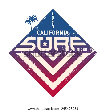 California west coast surfers. Pacific Ocean team. Vector illustration for surf board design. - stock vector