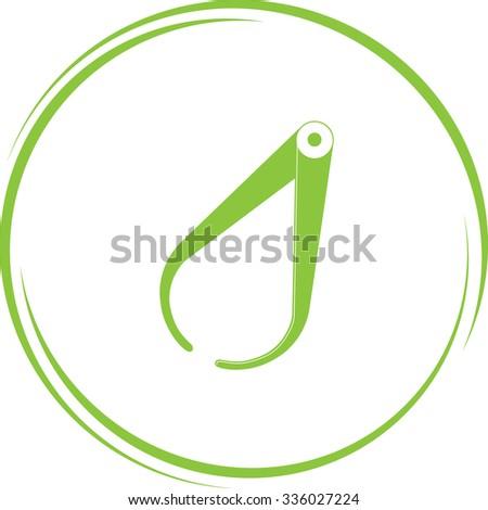 caliper. Internet button. Vector icon. - stock vector