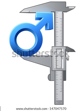 Caliper measures male sign. Graphic concept of measuring size of man symbol. Qualitative vector image about men's biology and health, male psychology (father, son), sex differences, gender role, etc - stock vector