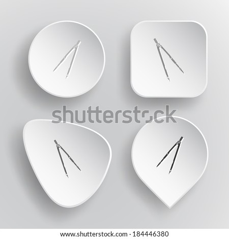 Caliper. White flat vector buttons on gray background. - stock vector
