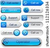 Call blue web buttons for website or app. Vector eps10. - stock vector