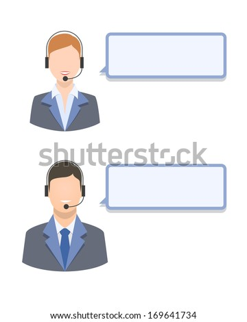Call center agents with blank text message isolated vector illustration - stock vector