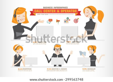 Call Center and Operator-Business Infographics - stock vector