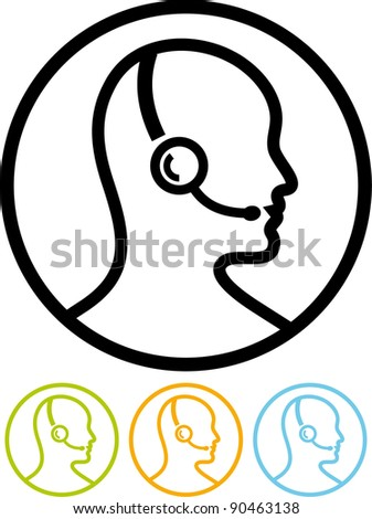 Call center assistant with headset - Vector icon isolated on white - stock vector