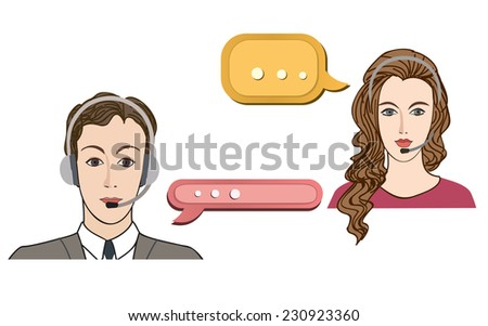 Call center concept with man and woman in headset. Vector icon set. Customer service avatar. - stock vector