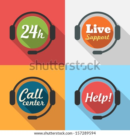 Call Center / Customer Service / 24 hours Support Flat Icon set for App / Web / UI / Button / Interface design - stock vector