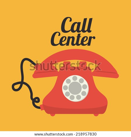 Call center design over yellow background, vector illustration