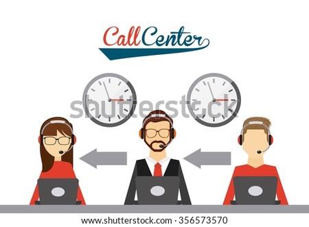 call center design, vector illustration eps10 graphic  - stock vector