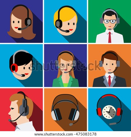 Call center flat icon set illustration isolated vector sign symbol