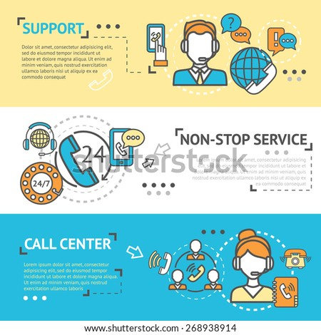 Call center horizontal banner set with non-stop support service elements isolated vector illustration - stock vector