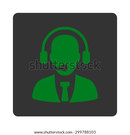 Call center icon. Vector style is green and gray colors, flat rounded square button on a white background.
