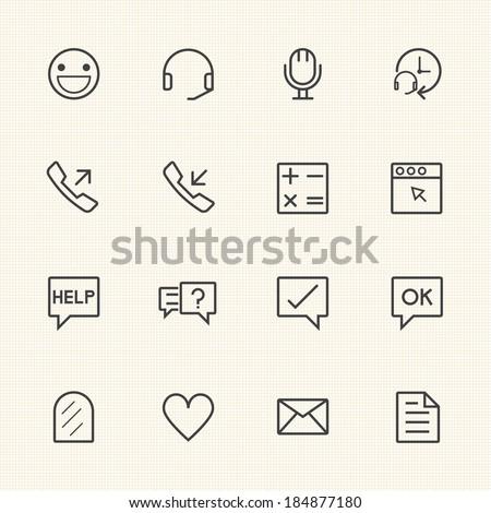 Call center icons set - stock vector