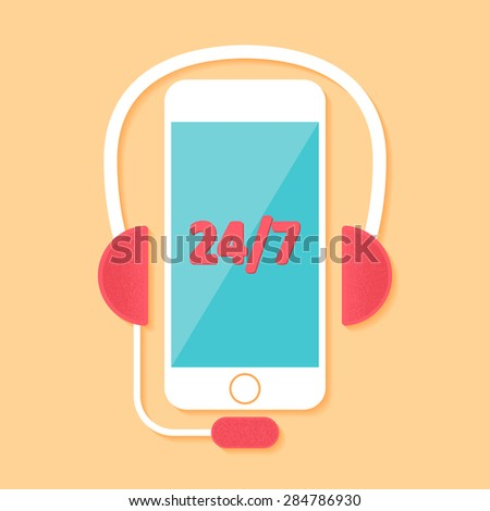 Call center in flat style - stock vector