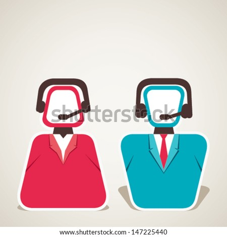 call center male and female icon stock vector - stock vector