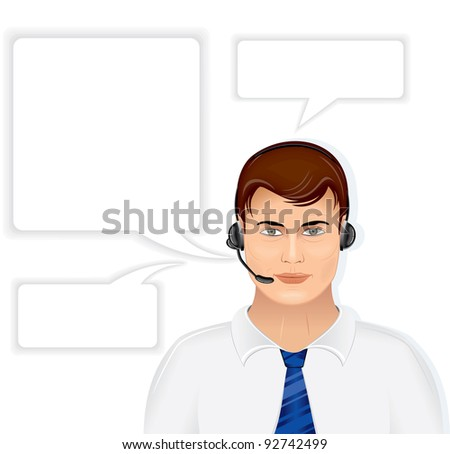 Call Center Male Operator with Set of Speech Bubbles, vector illustration isolated on white background - stock vector