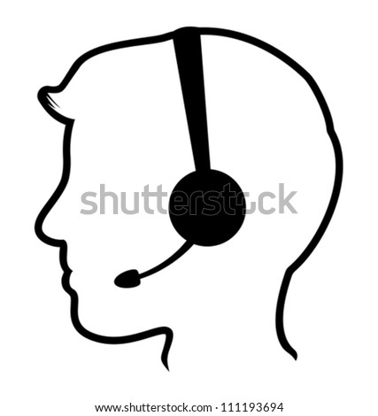 call center man icon - stock vector