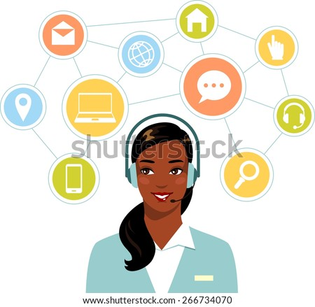 Call center online customer support african american woman operator and network flat icons - stock vector