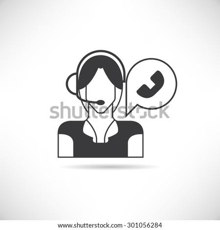 call center operator - stock vector