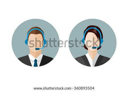 Call center operator icons. Man and woman with a headset. Customer support. Client services and communication,  phone assistance. Web icon, flat style vector illustration - stock vector