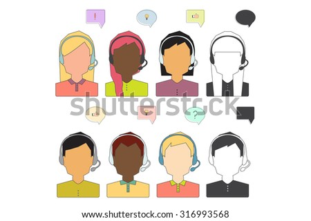 Call Center Operator Icons. Support service. Vector Flat Illustration.