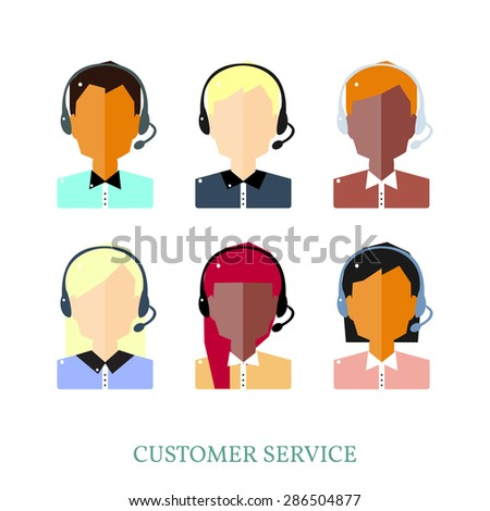 Call Center Operator Icons. Vector Flat Illustration.