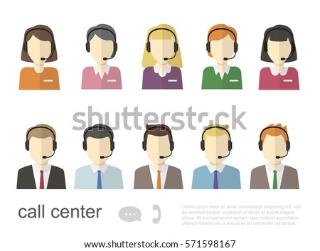 Call Center Operator Icons. Vector Flat Illustration