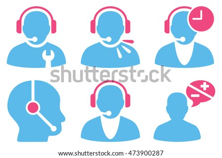 Call Center Operator vector icons. Pictogram style is bicolor pink and blue flat icons with rounded angles on a white background.
